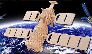 Wood 3-D Puzzles Space Satellite (13'' Wide, 9'' Tall) -- Wooden 3D Jigsaw Puzzle -- #1257