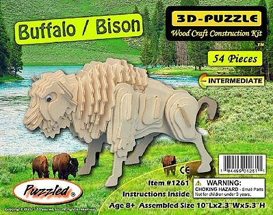 Wood 3-D Puzzles Buffalo/Bison Skeleton Puzzle (10'' Long) -- Wooden 3D Jigsaw Puzzle -- #1261