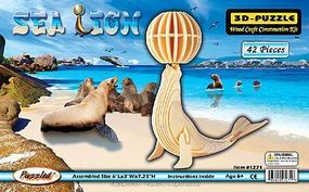 Wood-3D Sea Lion with Ball (7.25 Tall) Wooden 3D Jigsaw Puzzle #1271