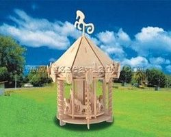 Wood-3D Carousel (9 Tall) Wooden 3D Jigsaw Puzzle #1301