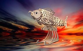 Wood-3D Carp Fish (8.5 Long) Wooden 3D Jigsaw Puzzle #1402