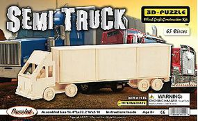 Wood-3D Semi Truck Freightliner Tractor Trailer (16.4 Long) Wooden 3D Jigsaw Puzzle #1415