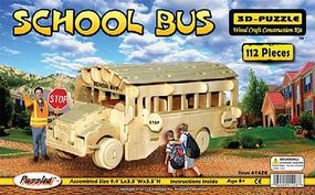 Wood-3D School Bus (9.5 Long) Wooden 3D Jigsaw Puzzle #1428
