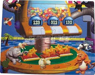 Wood-3D Cartoon Animals & Stars Playing with Candy Machine (48pc) Wooden Jigsaw Puzzle #2009