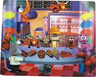 Wood 3-D Puzzles Cartoon Boy with Animals In Fast Food Restaurant (48pc) -- Wooden Jigsaw Puzzle -- #2010
