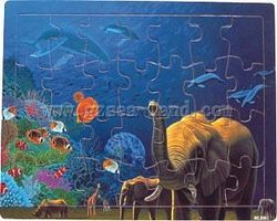 Wood-3D Land & Sea Animals Combined Wood Puzzle (28pc) Wooden Jigsaw Puzzle #3001