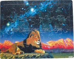 Wood-3D Lion on Land w/Ghost Images of Animals in Night Sky (28pc) Wooden Jigsaw Puzzle #3002