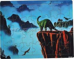Wood-3D Dinosaurs on Rock Cliffs Mountain Scene (28pc) Wooden Jigsaw Puzzle #3004