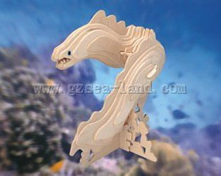 Wood 3-D Puzzles Moray Eel (8'' Long) -- Wooden 3D Jigsaw Puzzle -- #h4