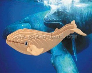 Wood 3-D Puzzles Blue Whale (12'' Long) -- Wooden 3D Jigsaw Puzzle -- #h6