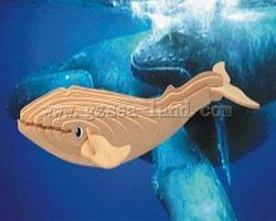 Wood-3D Blue Whale (12 Long) Wooden 3D Jigsaw Puzzle #h6