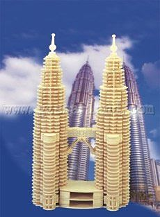 Wood 3-D Puzzles Petronas Twin Towers in Malaysia (16'' Tall) -- Wooden 3D Jigsaw Puzzle -- #p102