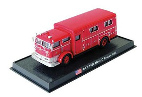William-Tell Mack Rescue Truck Assembled West Hempstead Fire Department (red, silver) 1/72 Scale