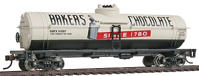 Walthers-Trainline 40 Tank Car Ready to Run Bakers Chocolate GATX Model Train Freight Car HO Scale #1615