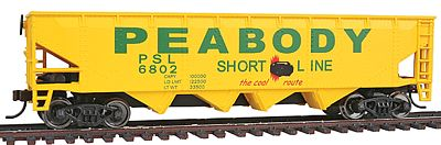Walthers Trainline 40' Quad Offset Hopper Peabody Short Line #6802 -- Model Train Freight Car -- HO Scale -- #1658