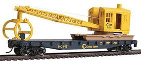 Walthers-Trainline Flatcar w/Logging Crane Chessie System/B&O Model Train Freight Car HO Scale #1782