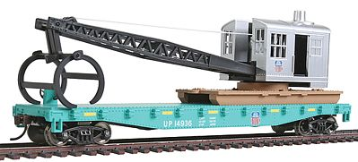 Walthers Trainline Flatcar w/Logging Crane Union Pacific Green & Black -- Model Train Freight Car -- HO Scale -- #1783