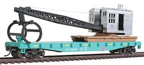 Walthers-Trainline Flatcar w/Logging Crane Union Pacific Green & Black Model Train Freight Car HO Scale #1783