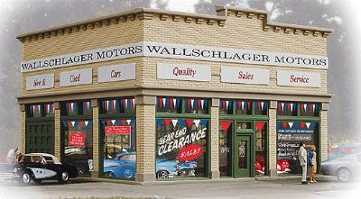 Walthers Trainline Wallschlager Motors Assembled -- Model Railroad Building -- HO Scale -- #805