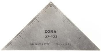 Zona Tool Co. 3'' Stainless Steel Triangle Ruler (.022 Thick)