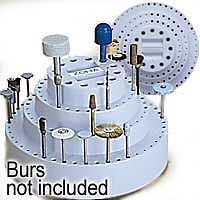 Zona Rotating Bur Holder 7 x 4'' Holds up to 126 Burs, Fits Shanks 1/4, 1/8, 3/32 & 1/16''