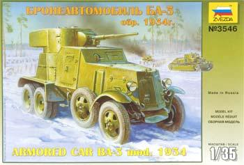 Zvezda BA-3 Soviet Armoured Car Plastic Model Military Truck Kit 1/35 Scale #3546
