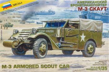 Zvezda M3 Armored Scout Car w/Canvas-Type Cover -- Plastic Model Military Truck Kit -- 1/35 Scale -- #3581