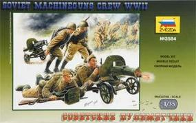 Zvezda WWII Soviet Machine Guns w/4 Crew Plastic Model Military Figure 1/35 Scale #3584
