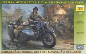 Zvezda German R12 Motorcycle w/Sidecar & 3 Crew Plastic Model Motorcycle Kit 1/35 Scale #3607