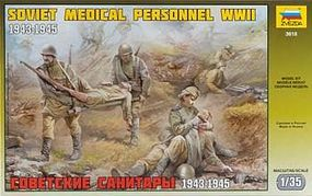 Zvezda Soviet Medical Personnel 1943-45 (5) Plastic Model Military Figure 1/35 Scale #3618
