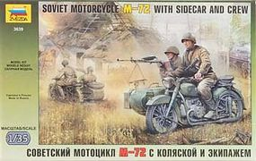 Zvezda Soviet Motorcycle w/Sidecar M-72 Plastic Model Motorcycle Kit 1/35 Scale #3639