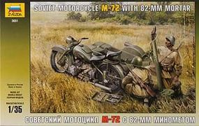 Zvezda WWII M-72 Soviet Motorcycle w/Mortar Plastic Model Motorcycle Kit 1/35 Scale #3651