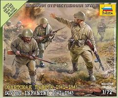 Soviet Infantry 1941-43 (10) (Snap) Plastic Model Military Figure 1/72 Scale #6103