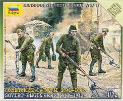 Zvezda Soviet Engineers 1941-42 (4) (Snap) Plastic Model Military Figure 1/72 Scale #6108
