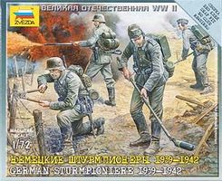Zvezda German Sturmpionier 1939-42 (4) (Snap) Plastic Model Military Figure 1/72 Scale #6110