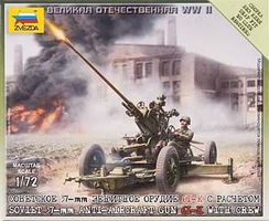 Zvezda Soviet 37mm Anti-Aircraft Gun Type 61K Plastic Model Military Diorama 1/72 Scale #6115