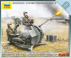 Zvezda WWII Flak 38 20mm Gun w/2 Crew Plastic Model Military Diorama 1/72 Scale #6117