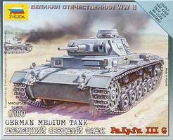 Zvezda German Tank Panzer III Plastic Model Tank Kit 1/100 Scale #6119