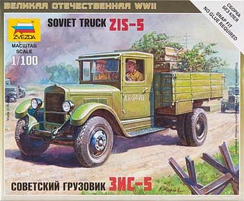 Zvezda Soviet Truck ZIS-5 Snap Kit Plastic Model Military Truck Kit 1/100 Scale #6124