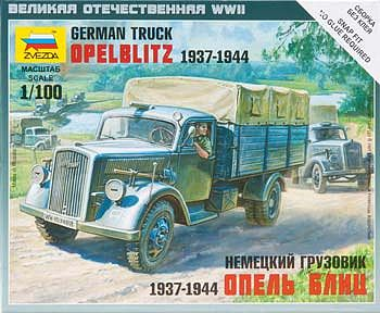 Zvezda German 3t Cargo Truck Snap Kit Plastic Model Military Truck Kit 1/100 Scale #6126