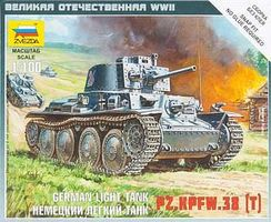 Zvezda German 38t Tank Snap Kit Plastic Model Tank Kit 1/100 Scale #6130