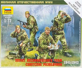 Zvezda Soviet Reconnaissance Team -- Plastic Model Military Figure -- 1/72 Scale -- #6137