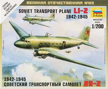 Zvezda Li-2 Soviet Transport Plane -- Plastic Model Airplane Kit -- 1/200 Scale -- #6140