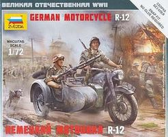 Zvezda German Motorcycle R-12 w/Sidecar Plastic Model Motorcycle Kit 1/72 Scale #6142