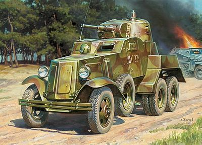 Zvezda BA-10 Soviet Armored Car WWII Snap Kit -- Plastic Model Military Truck Kit -- 1/100 Scale -- #6149