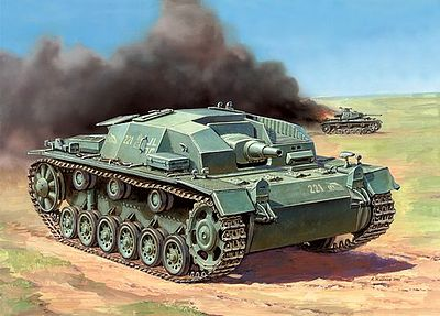 Zvezda Sturmgeschutz III Aust.B Snap Kit -- Plastic Model Tank Kit -- 1/100 Scale -- #6155