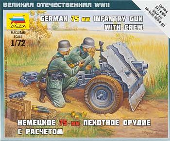 Zvezda German 75mm Infantry Gun w/Crew -- Plastic Model Military Figure -- 1/72 Scale -- #6156