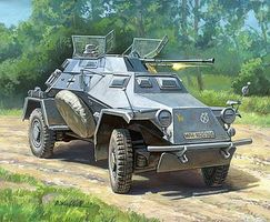 Zvezda Sd/Kfg/222 German Reconnaissance Armored Car Plastic Model Military Vehicle Kit 1/100 #6157