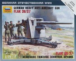 Zvezda German 88mm Flak 36 Plastic Model Military Diorama 1/72 Scale #6158