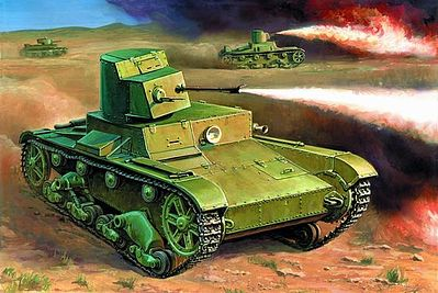 Zvezda Soviet Flamethrower Tank T-26 Snap Kit -- Plastic Model Tank Kit -- 1/100 Scale -- #6165